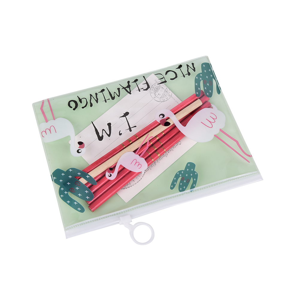 Nice Cute Flamingo Bird Green Cactus A4 A5 B6 Mini File Bag Mesh Bag Document Bag PVC Fi ...