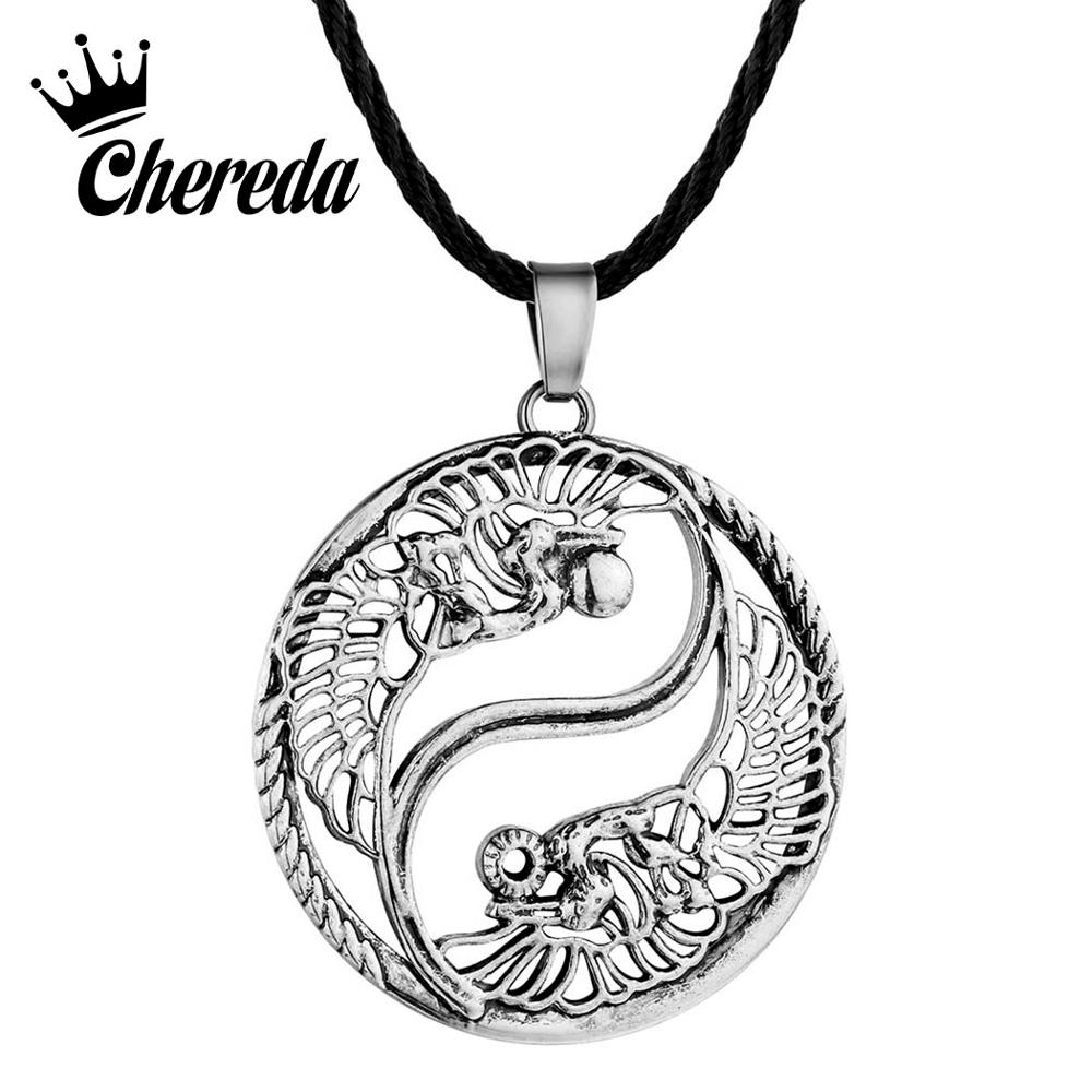 Chereda Vintage Taoism Sign Ancient Eight Diagrams Pendant Bronze Silver Men Necklace Round Accessories
