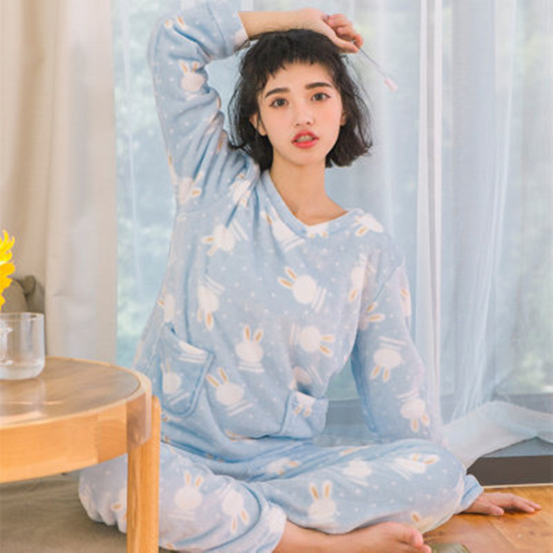 Winter Pajamas Women Polyester Full Trousers Lady Two Piece Pajama Set Cute  Cartoon Flannel Female Home Clothing Women s Pyjamas c3062b9bd