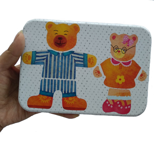 Happy Bear Family Wooden Puzzle Toy