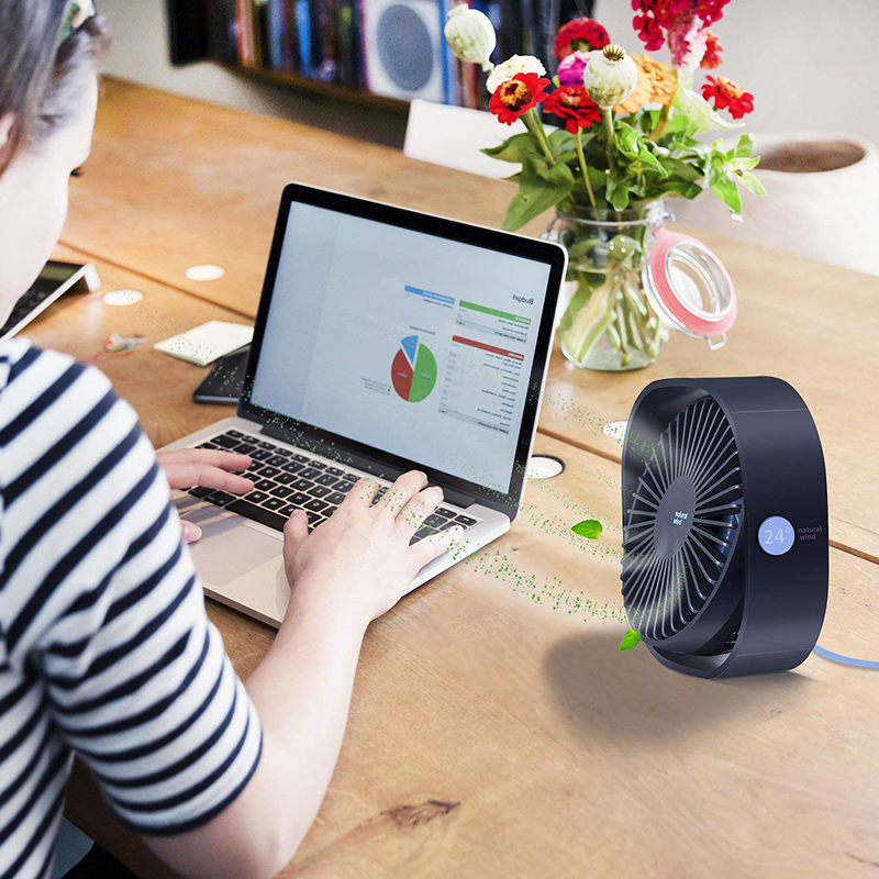 3 Speed Mini USB Desktop Fan Personal Portable Cooling Fan with 360 Rotation Adjustable Angle for Office Household Traveling