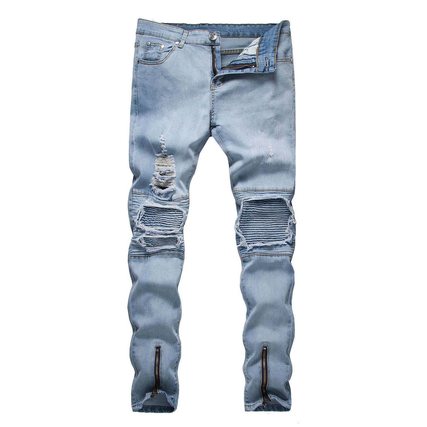 Mens jeans spring and summer new 2018 trend hole trousers high quality cotton breathable fashion jeans