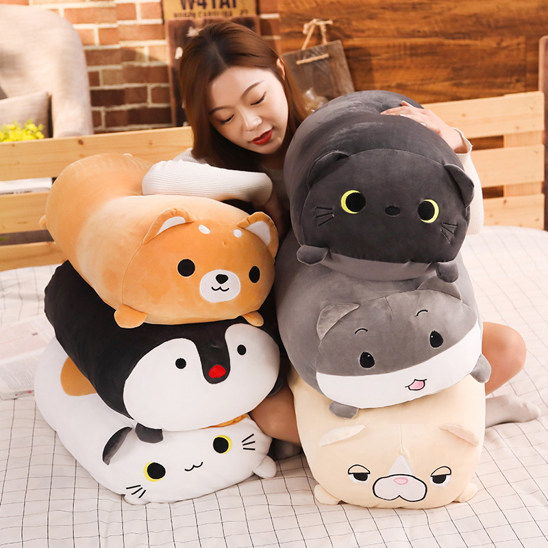 60cm Soft Animal Cartoon Pillow Cushion Cute Shiba Inu Hamster Cat Dog Penguin Plush Toy Stuffed Lovely Kids Birthday Gift