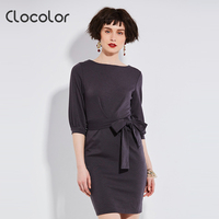 Clocolor Autumn Casual Dresses For Woman 2016 Solid Blue Dresses Women Spring Loose Camel O Neck
