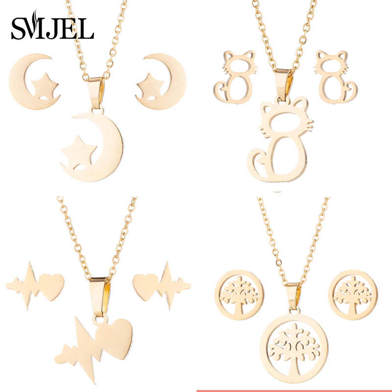 SMJEL Mickey Women Mouse Necklaces Stainless Steel Jewelry Gifts Moon Necklace Pendant Collier collares de moda 2018