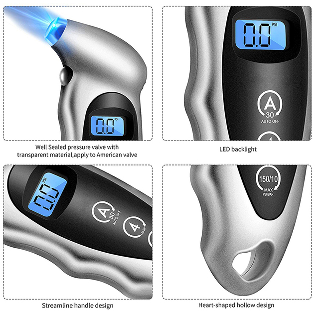 Sikeo Tire pressure gauge 0-150 PSI  Backlight High-precision digital tire pressure monitoring car tire pressure gauge