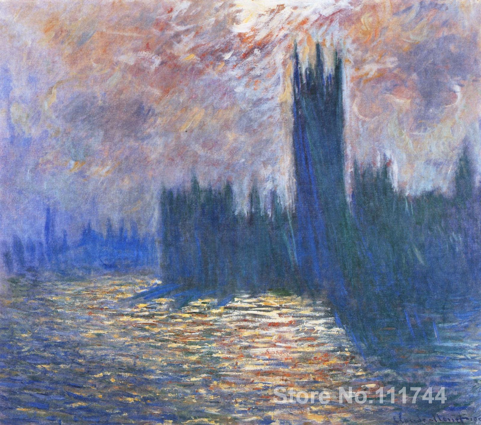 Landscape painting Impressionist Parliament Reflections on the Thames Claude Monet High quality Hand paintedLandscape painting Impressionist Parliament Reflections on the Thames Claude Monet High quality Hand painted