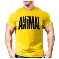 Животное печати спортивный костюм футболка мышцы рубашка Тенденции в 2016 году фитнес хлопок марка одежды для мужчин бодибилдинг Tee большой XXL