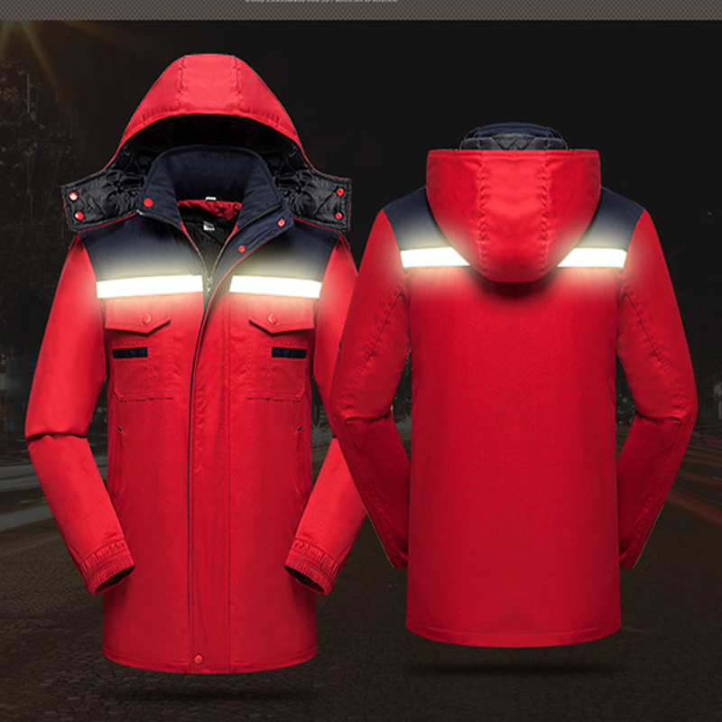 2018 Winter thickening Reflective coveralls Removable liner Men Women Coveralls hooded Repairman Machine Welding Worker Uniforms