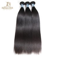 Amanda Brazilian Virgin Hair Straight Human hair 3 Bundle Brazilian Virgin Hair Weave Bundles Straight Human Hair extensions