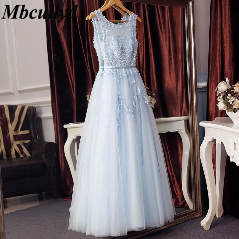 Long Formal Floor Length Wedding Guest Dresses 2018 Applique Lace Blue Bridesmaid Dress With Pearls Plus Size Vestido De Festa