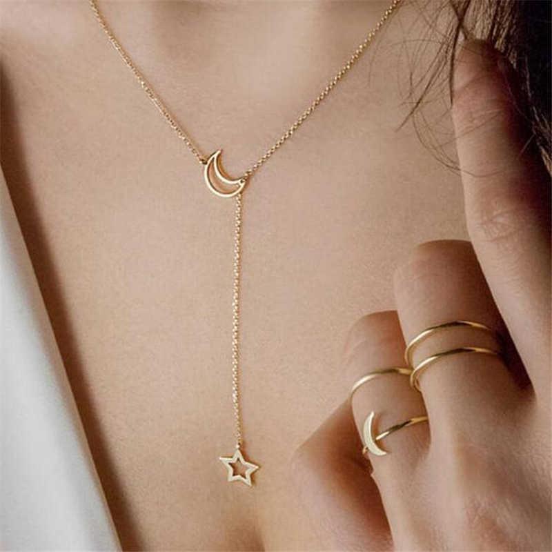 WPCZQVZA kobiety moda księżyc wisiorek w kształcie gwiazdy Choker naszyjnik złoty/Sliver kolor kobiet naszyjnik łańcuch dla Party biżuteria akcesoria
