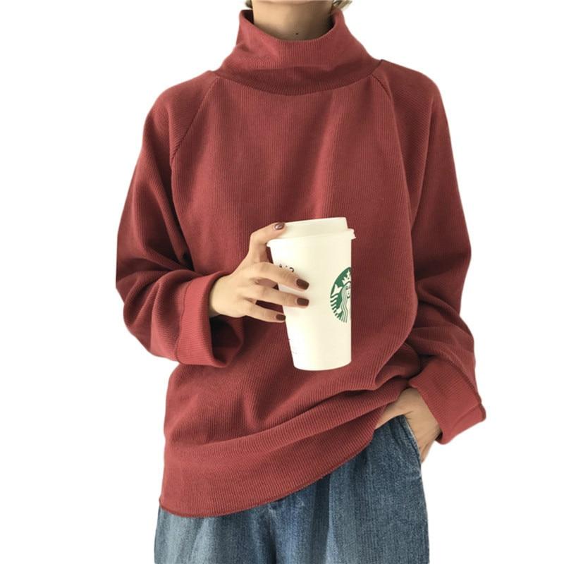 Streetwear pull à col roulé tricoté manches chauve-souris femmes chandail coréen 2019 automne haut d'hiver femme crochet esthétique pull