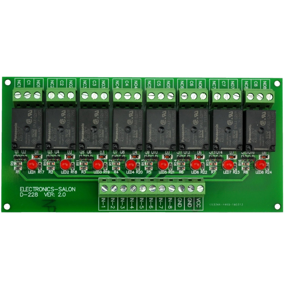 Electronics-Salon 8 Channel 10Amp SPDT Power Relay Module Board (Operating Voltage: DC 12V) Electronics-Salon 8 Channel 10Amp SPDT Power Relay Module Board (Operating Voltage: DC 12V)