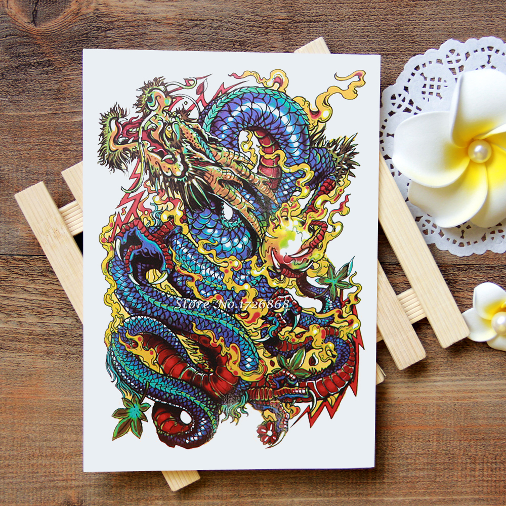 Waterproof Temporary Tattoos Stickers Great Chinese Dragon Tattoo Flash Water Transfer Tattoos Fake Tattoos For Women Men #045