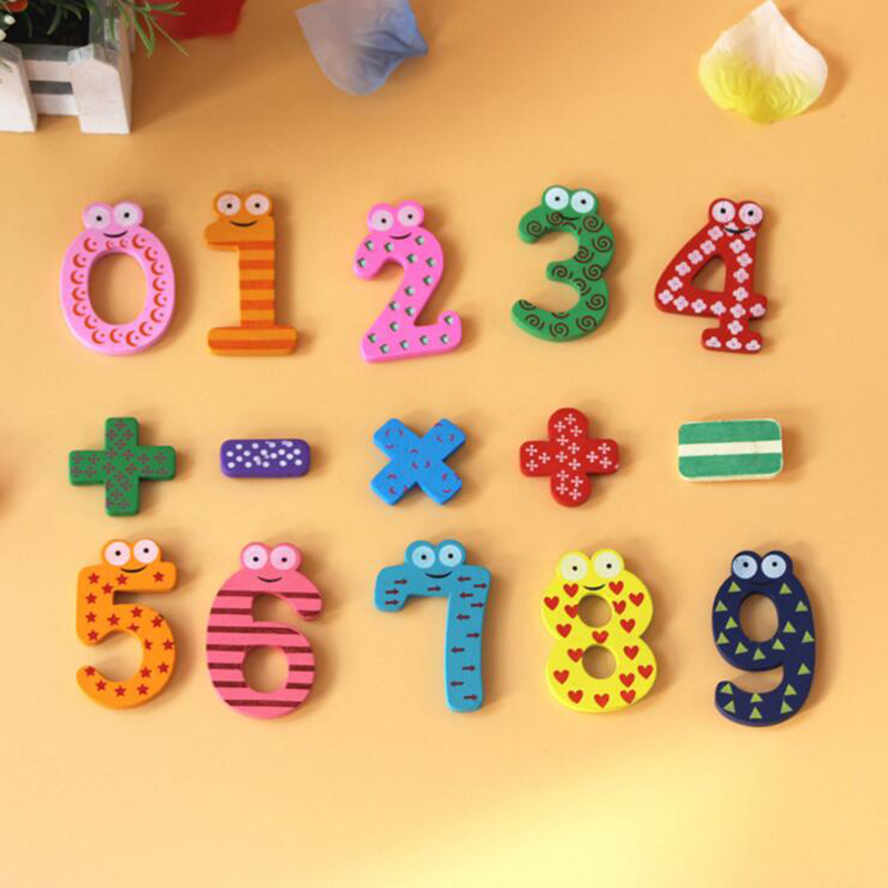15PCS 3D Wooden Puzzle Educational Number Alphabet Letters Puzzles refrigerator stickers magnets toys For Children Free