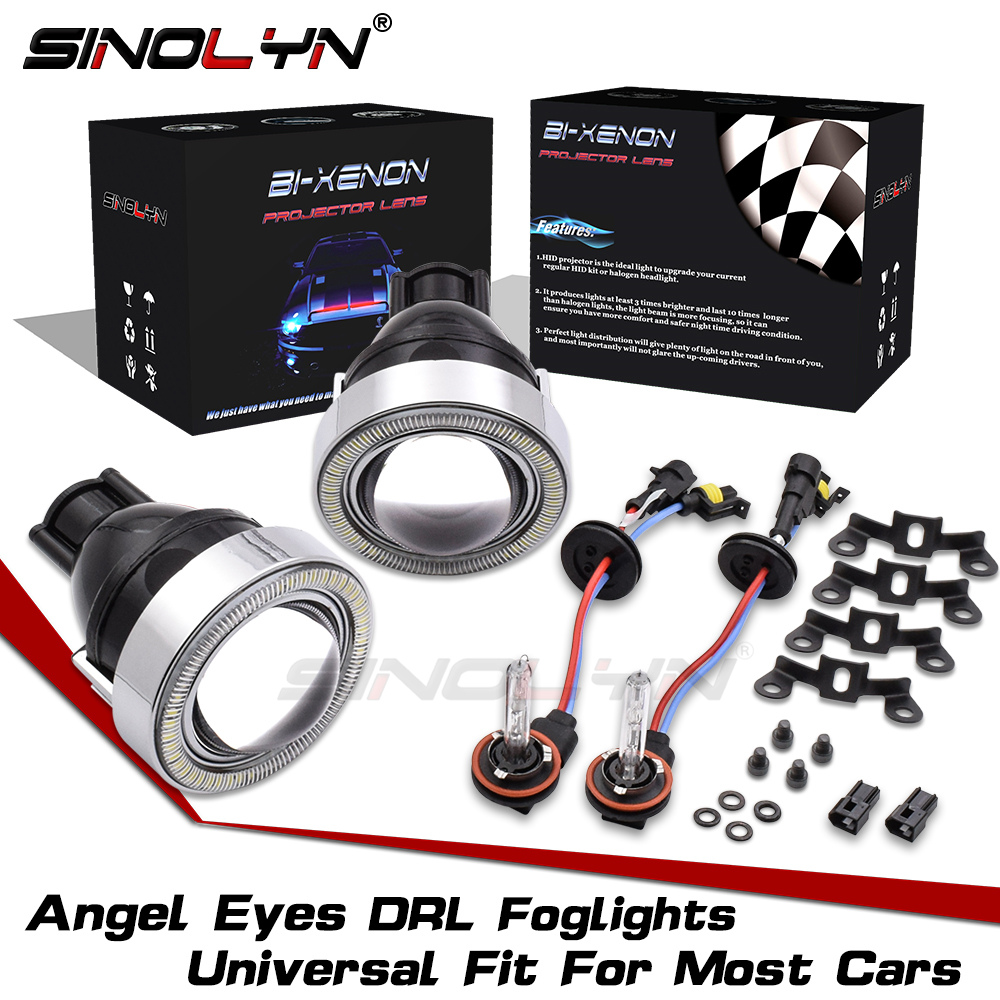 SINOLYN Waterproof Angel Eyes Fog Light HID Lamp Car Projector Lens Bixenon Bifocal Driving Lamps Universal
