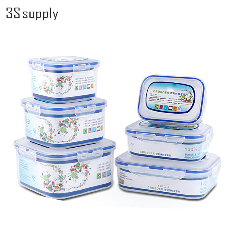 New 3Pcs/<font><b>Set</b></font> Different Size Plastic Microwave Food Container Crisper Fresh Keeping Box Lunchboxes Lunch Bento Box Dinnerware <font><b>Set</b></font>