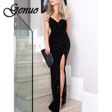 Sleeveless long sequin dress Women high slit spaghetti strap dresses Sexy V neck club party dress Maxi black sequined vestidos high slit long sleeveless cami dress