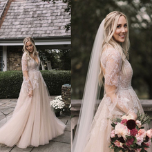 V neck Neckline Soft Tulle Long Sleeves Lace Applique A line Wedding Dress with Beading Belt Backless Sweep Train  Bridal Dress
