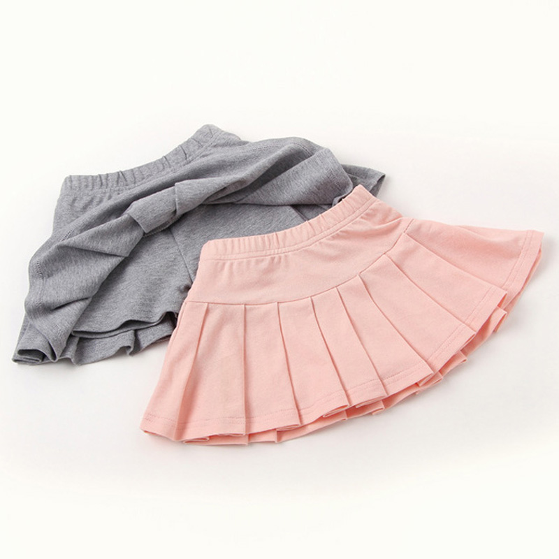 Girls Skirts 2018 New Summer Girls Clothing Kids Pleated Skirt Casual Solid Cott