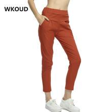WKOUD High Waist Women Pants Cotton Linen Thin Solid Pencil Pants Summer Ankle-Length Leisure Trousers Female Bottom Wear P8015