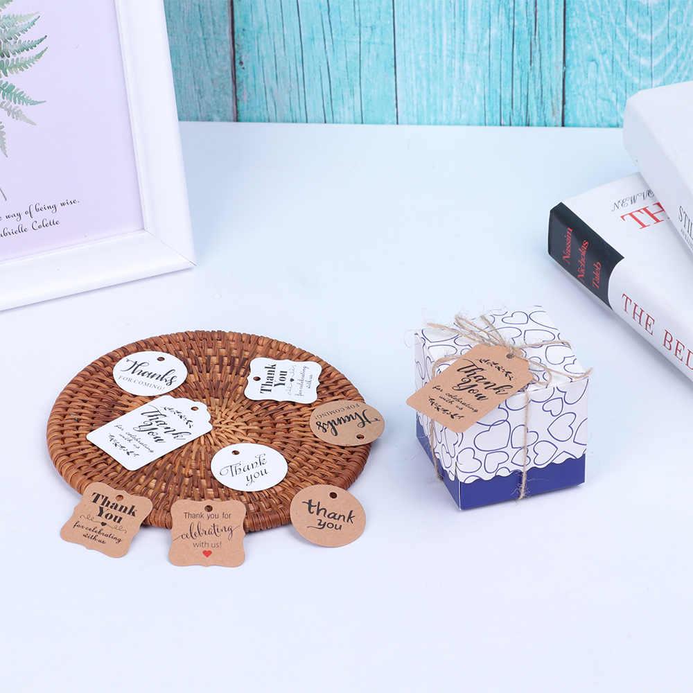 100 unids/bolsa redonda en forma de corazón gracias etiqueta colgante y 20M cuerda yute cordel etiquetas de regalo Kraft DIY paquete boda fiesta suministros