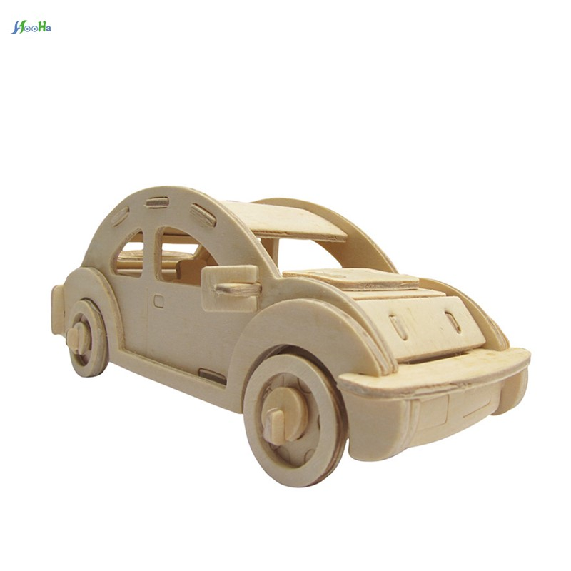 3d Puzzle Kids Wooden Toys Children Adult Diy Handwork Learning Educational Games Stereoscopic Model Beetle Car Baby Jigsaw