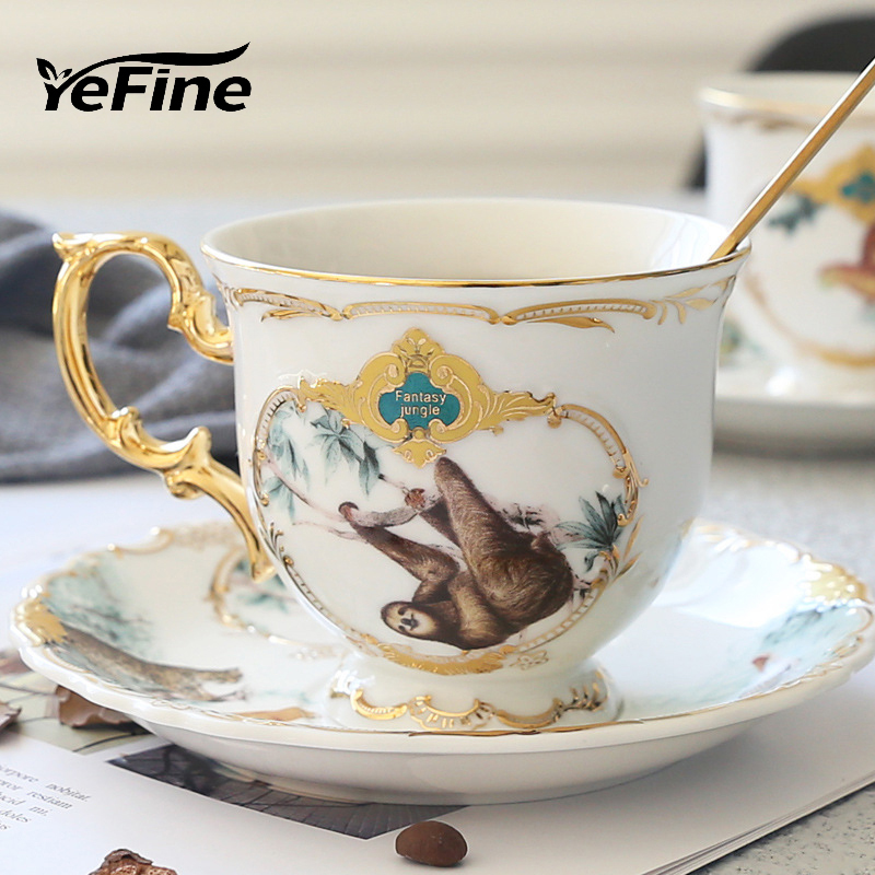 YeFine Jungle Animal Gold Bone China Tea <font><b>Cup</b></font> Saucer British Style Ceramic <font><b>Coffee</b></font> <font><b>Cups</b></font> <font><b>Sets</b></font> Fashion Porcelain Teacup image