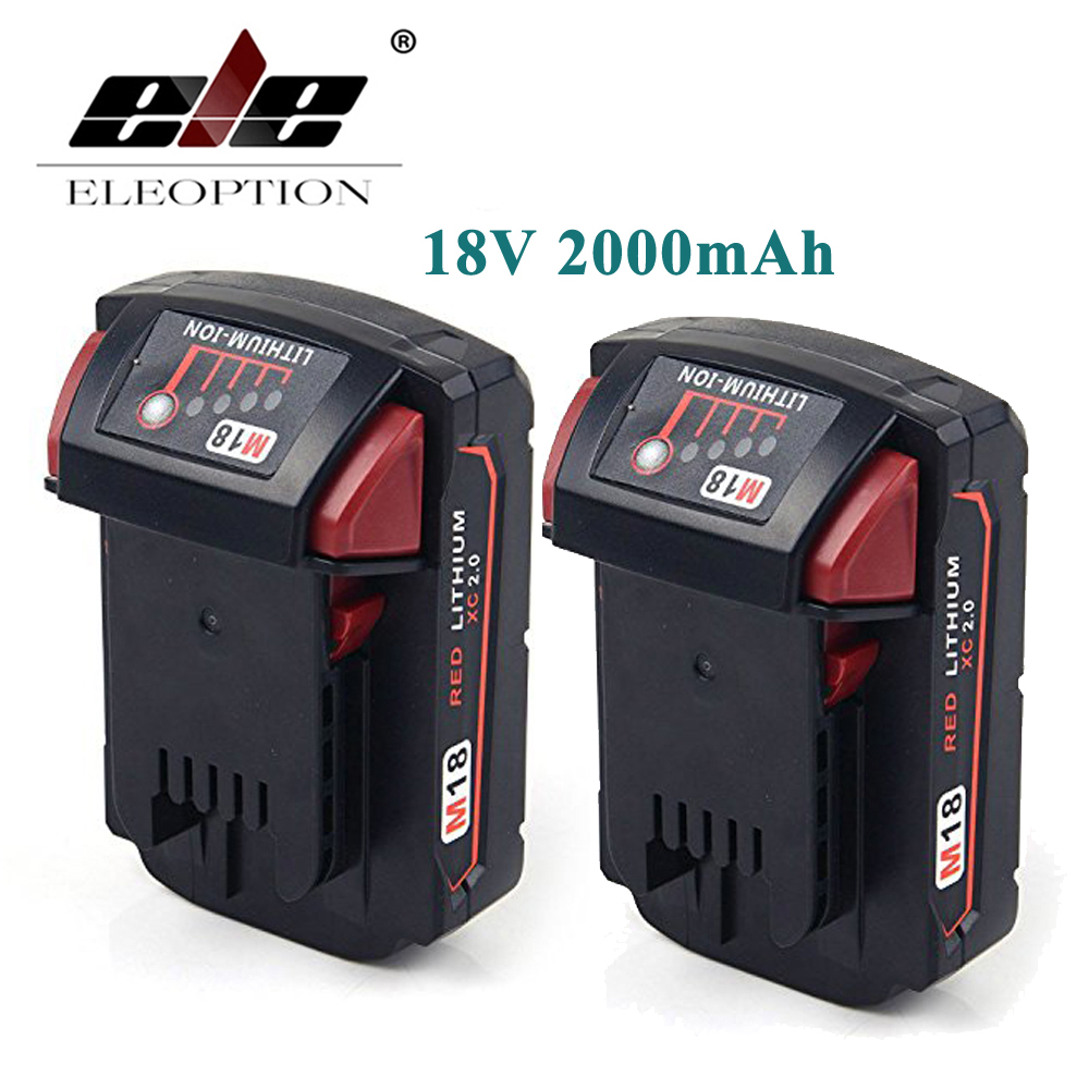 ELEOPTION 2PCS 2000mAh 18V Li-Ion Replacement Rechargeable Power Tool Battery for Milwaukee M18 XC 48-11-1820 M18B2 M18B4 M18BX 18v 6000mah rechargeable battery built in sony 18650 vtc6 li ion batteries replacement power tool battery for makita bl1860