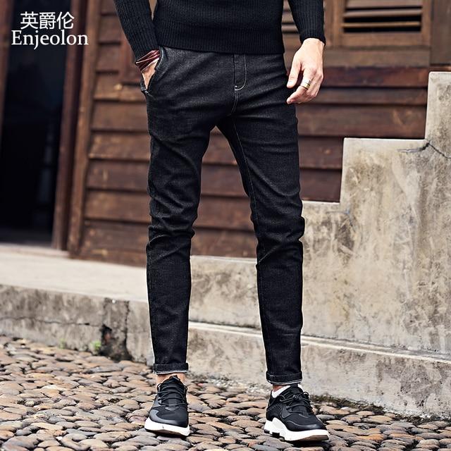Enjeolon merk top 2017 nieuwe hoogwaardige volledige lengte jeans mannen, mode Slanke Rechte jeans kleding mannetjes Causale Broek KZ6141