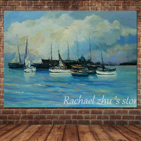 Hand Painted Modern Abstract Art Seascape Oil Painting On Canvas Sea Boat Landscape Art Wall Pictures