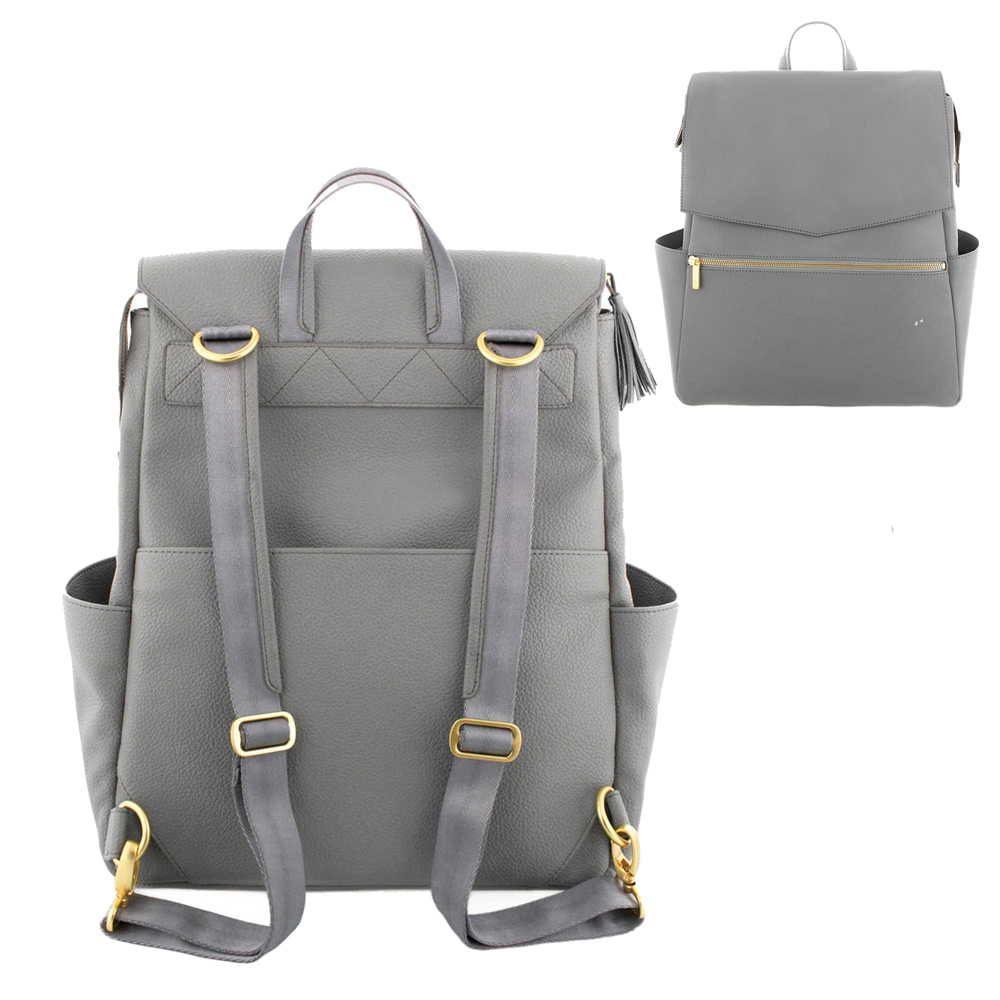 Image 2 - PU Leather Baby Diaper Bag Backpack+Changing Pad+Stroller Straps-in Diaper Bags from Mother & Kids