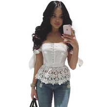 Elegant Sexy Bow Off Shoulder Top Beading Women Blouse Shirt Summer 2016 White Blusas Female Lace Blouses Beach Casual Tops Girl