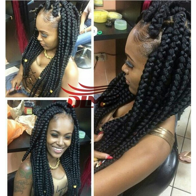 d2173673733 Black Synthetic New Fashion Braid Wig Heat Resistent African American Braided  Wigs Black Women Wholesale None Lace Braided Wigs
