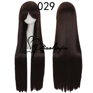 Image 2 - 100cm High Quality Anime Straight Long Wig Cosplay Costume Synthetic Hair Purple Silver White Grey Blue Rose Red Wigs For Women