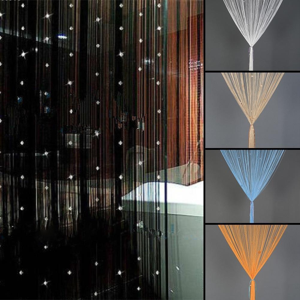 unid elegante cadena de cuentas de cristal de baja elasticidad puerta cortinas de hilo cortina
