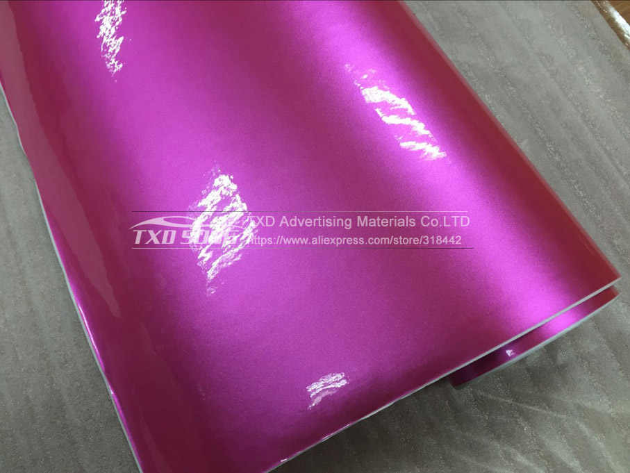 Gratis verzending roze metallic pearl glitter sticker voor auto full body decoratie met luchtbel 1.52*20 M/ roll