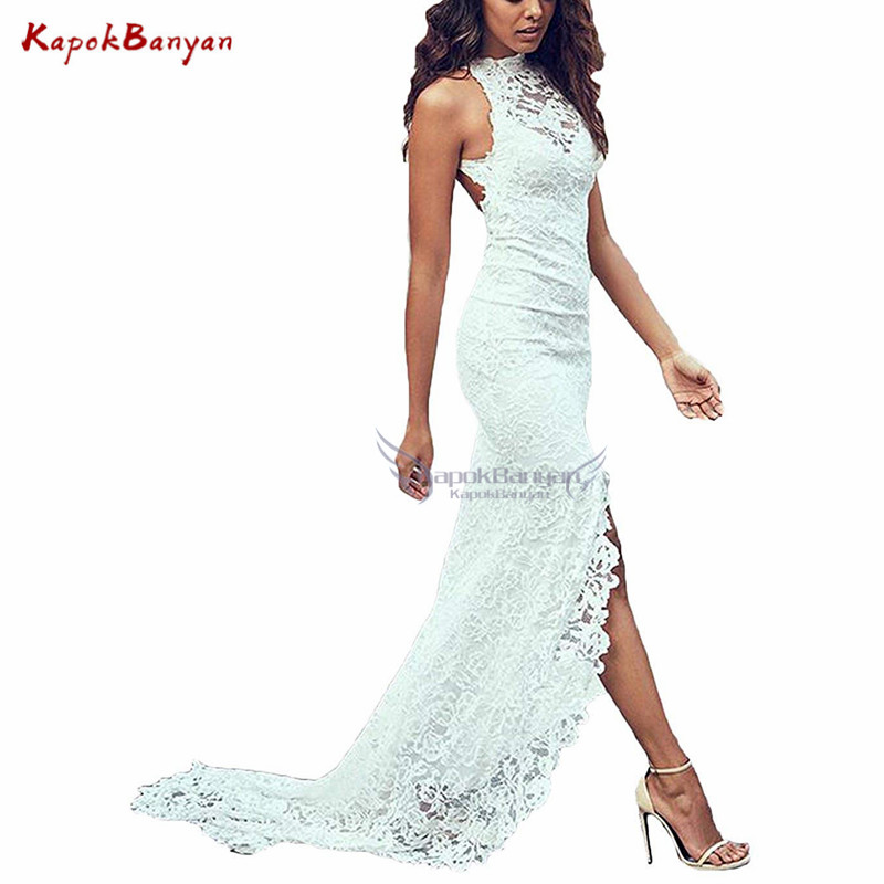 Hi Lo Evening Dress Sleeveless Backless Long Open Back Sweep Train White Party Dress Formal Dresses Evening Gown