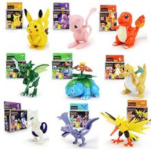 15 Styles Kawaii Anime Cartoon Super Heroes Go Pikachu Squirtle Charmander Block Building Blocks Bricks Educational Toys стоимость