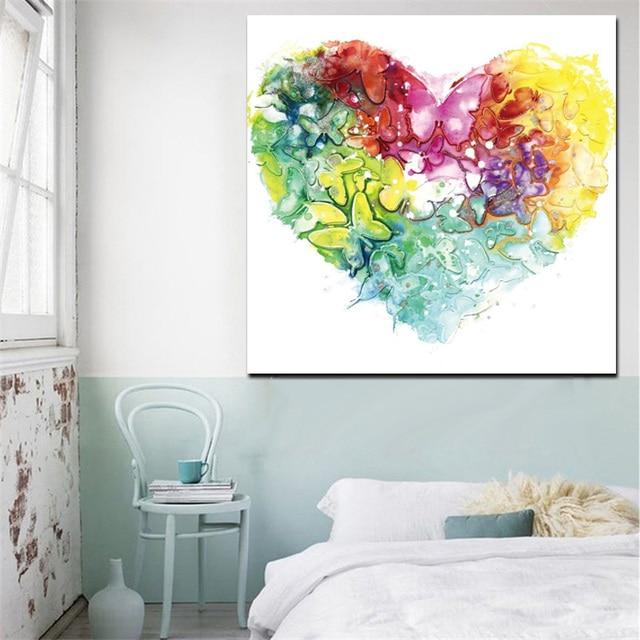 Exceptionnel HD Impression Aquarelle Coeur Papillon Fleur Peinture À L'huile  EU51