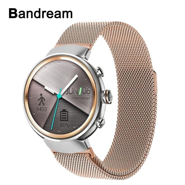 ebe64757af1 Milanese Laço de Aço Inoxidável Faixa de Relógio Pulseira para Asus  ZenWatch 3 WI503Q Inteligente Magnetic