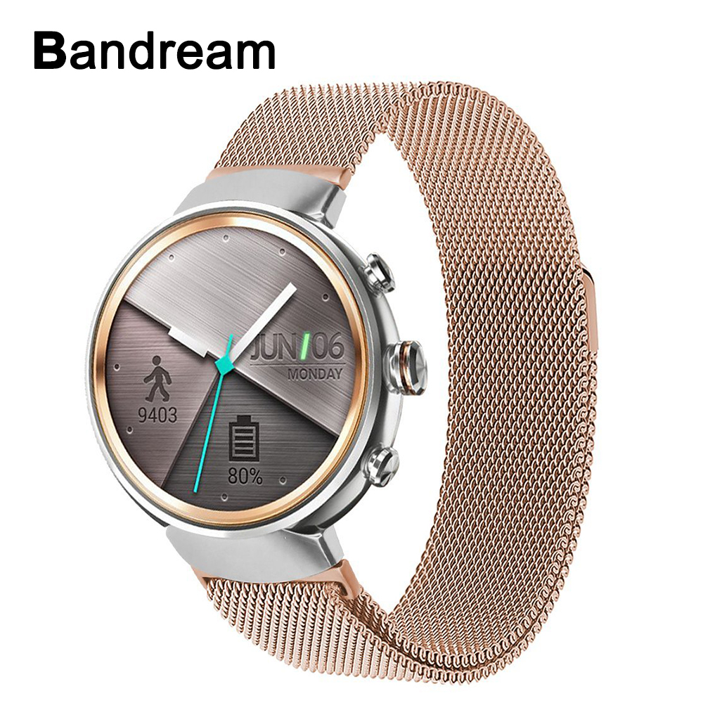 Milanese Loop Stainless Steel Watchband for Asus ZenWatch 3 WI503Q Smart Watch Band Magnetic Buckle Strap Quick Release Bracelet