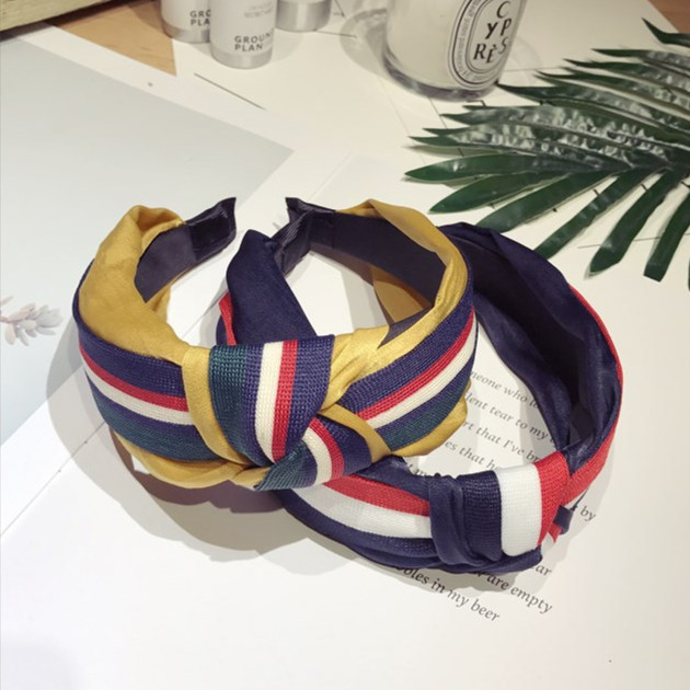 2019 NewFashionVintage Wide Knotted Headband New Patchwork   Headwear   Women Hairband 2019 Hair Accessories for Grils High Quality