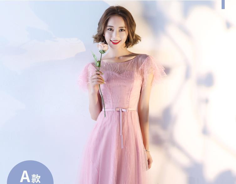 Demoiselle d'honneur genou longueur robe 2018 nouveau automne élégant coréen mince tempérament doux demoiselle d'honneur régiment soeur robe S-XXL