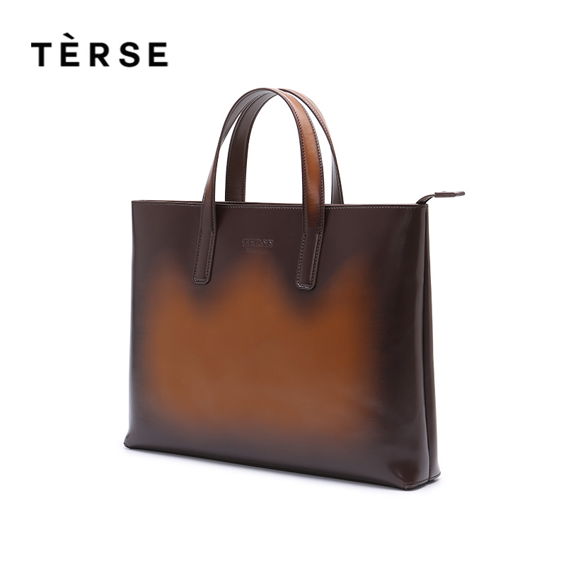 TERSE Brand NEW Men`s Briefcase Genuine Leather Handbags Bussiness Handle Laptop With Card Phone Pocket Handbag Customize Logo