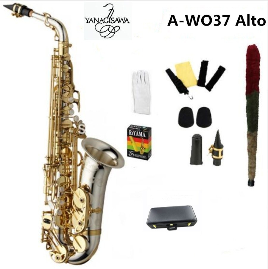 2018 Brand NEW YANAGISAWA A-WO37 Alto Saxophone Eb Nickel Plated Gold Key Professional Sax Mouthpiece With Case High Quality Sax professional selmer 54 bb tenor saxophone brass concert music instrument sax nickel plated shell buttons with case mouthpiece