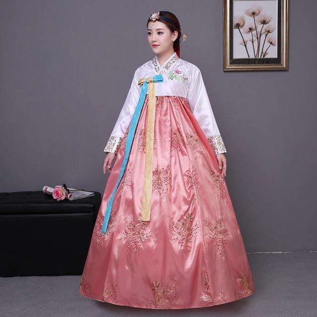 2018 winter woman elegant korea hanbok traditional dress female national korean dance costume for performance Dance Hanbok Stage