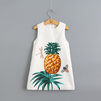 Retail 2016 New girls dress High quality 100% cotton jacquard fruit pineapple sleeveless in summer baby girl clothes