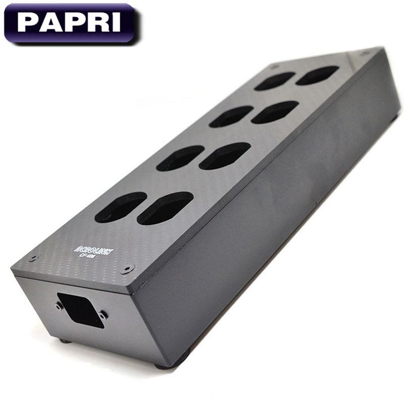 PAPRI D'origine HiFi 8 Sortie Fiber De Carbone US Prise SECTEUR Box Boîtier Châssis DIY Puissance Distributeur Audio Amplificateur